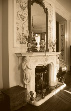 old photo of fireplace