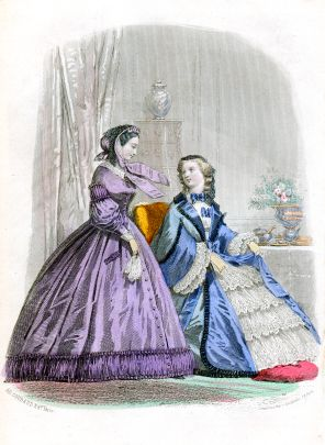 Two ladies in large crinoline dresses