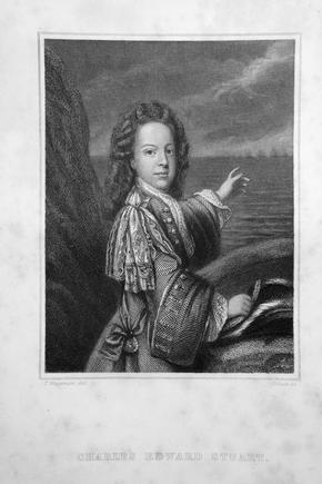 Black and White Print of a portrait of Bonnie Prince Charlie, titled Charles Edward Stuart