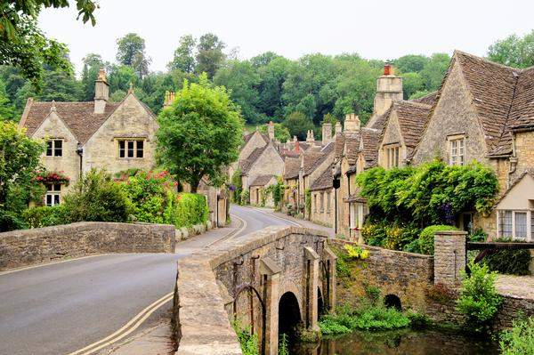 The scenic Cotswold village of Castle Combe in England