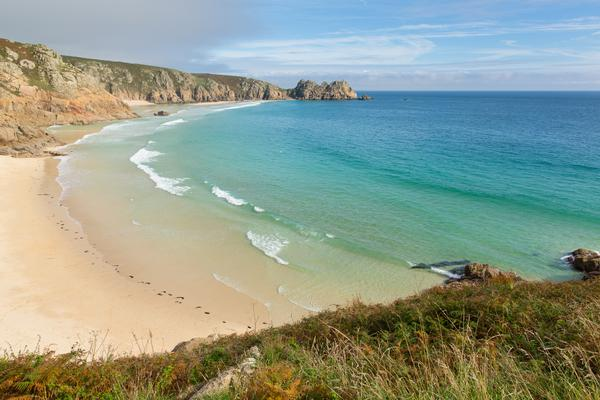 Dramatic view of Porthcurno Beach in Cornwall,  England