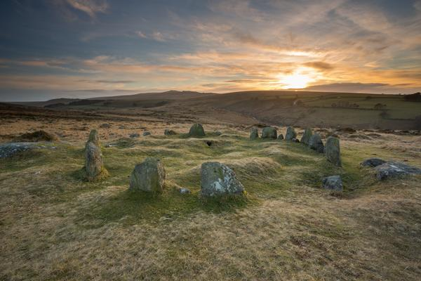 Nine Maidens Stone Circle at sunrise