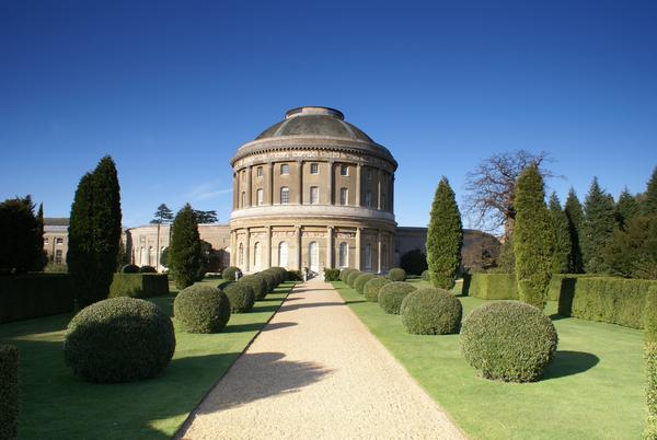 Formal Garden with path leading to Rotunda at Ickworth