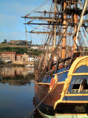 Full-size replica of the ship Endeavour pictured in harbour