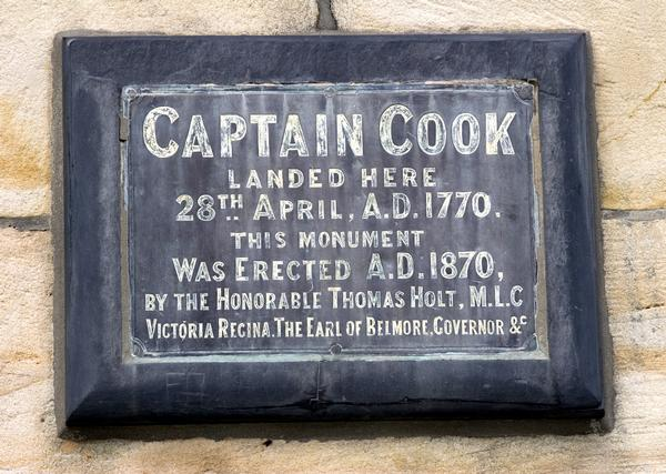 Plaque in Botany Bay commemorating Captain Cook's landing in 1770