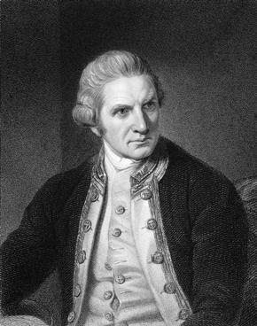 Black and White Print of a portrait of Captain Cook
