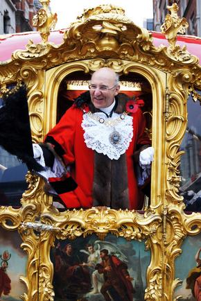 The Lord Mayor Of London in his carriage at the Lord Mayors Show