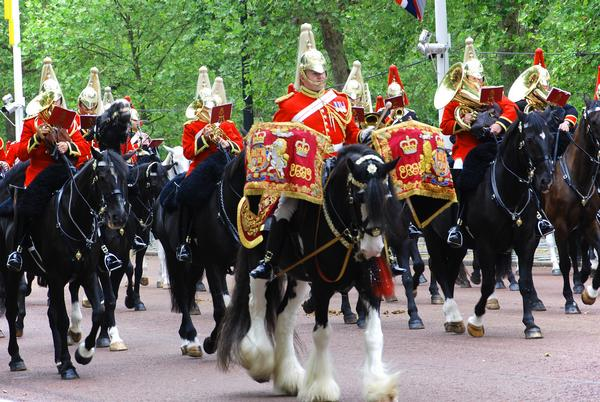 Queen's guards during Trooping the Color ceremony parade on the Mall and at Buckingham Palace, on June 02, 2012 in London.