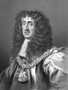 Black and White print of portrait of Charles II