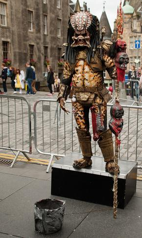 Person dressed as alien on Royal Mile