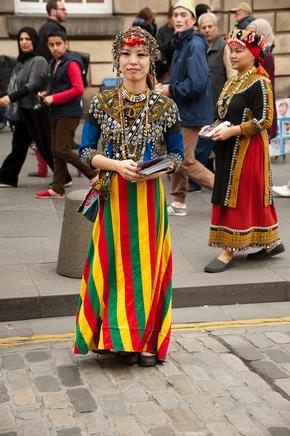 Woman in traditional costume at Edinburgh Festival