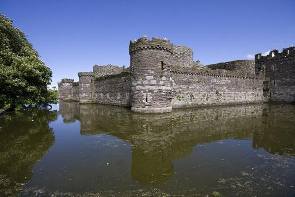 Beaumaris Castle surrounded by its moat