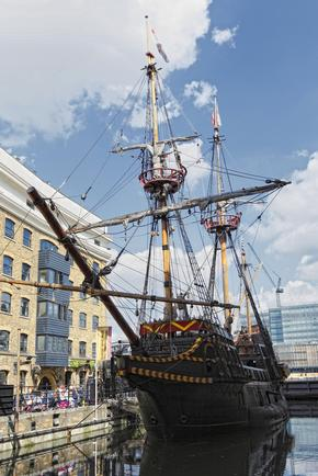 Sailing Ship - Francis Drake's Golden Hind docked in London