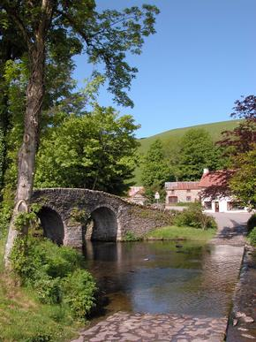 A stone bridge and ford at Malmsmead, Exmoor National Park