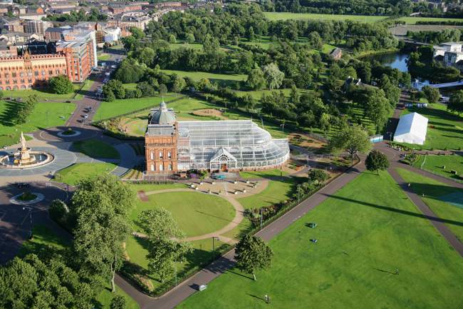Aerial View of Peoples Palace and Glasgow Green