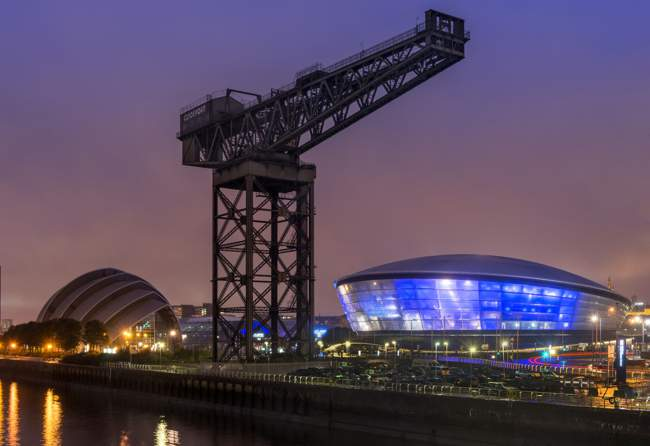 Finnieston Crane, SSE Hydro and River Clyde at Night
