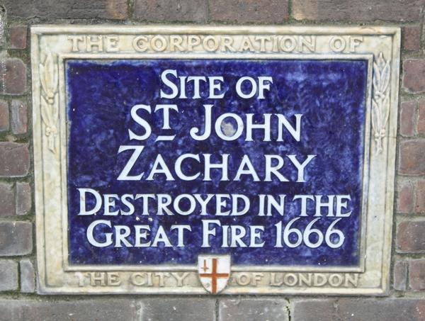 Sign showing the site of St John Zachary