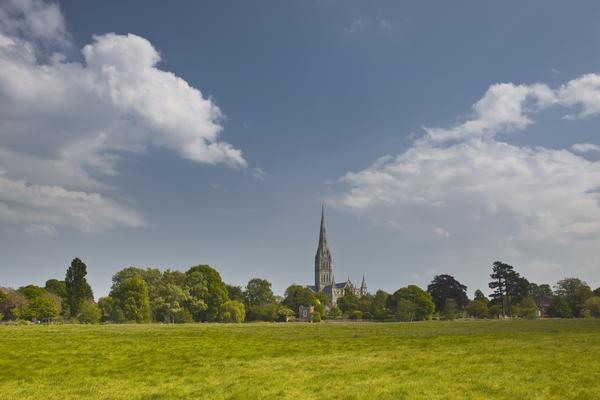 View across the water meadows to Salisbury Cathedral.