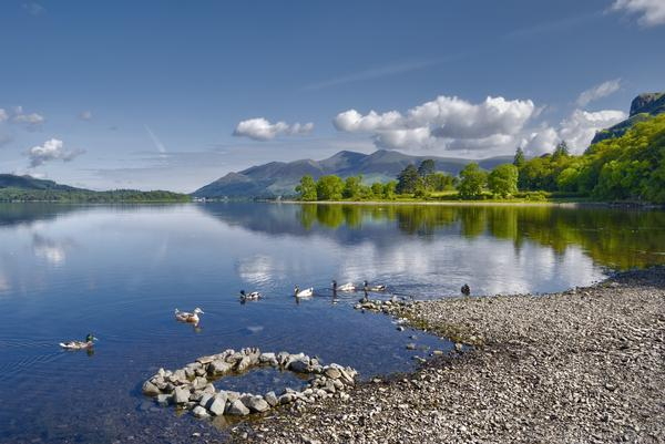 Scenic view of Derwent Water lake with Skiddaw mountain in background