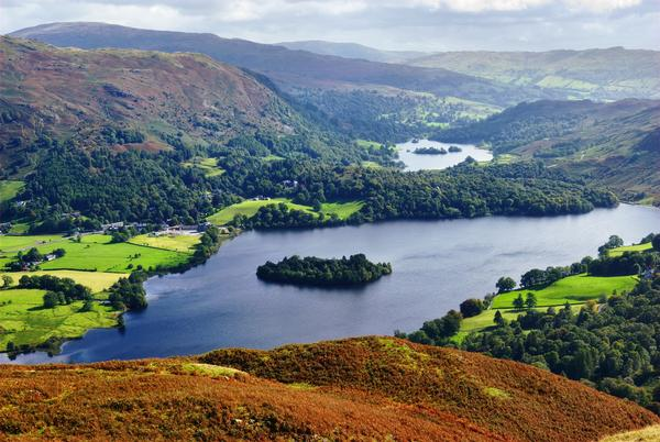 An aerial view of Grasmere from the slopes of Silver Howe