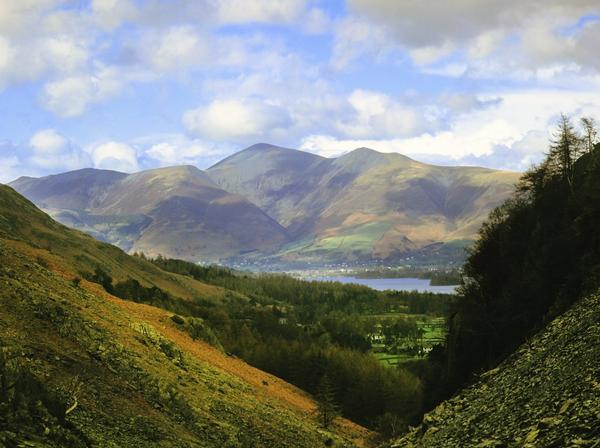 View of Skiddaw Mountain and Derwent Water in the English Lake District, Cumbria