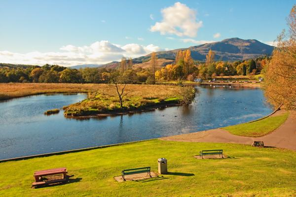 River Teith with a view of Ben Ledi, Callander