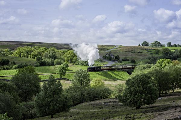 View of a vintage steam train travelling from Goathland to Pickering on the North York Moors Railway
