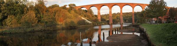 Old disused Victorian railway viaduct over the River Esk at Whitby, North Yorkshire, UK