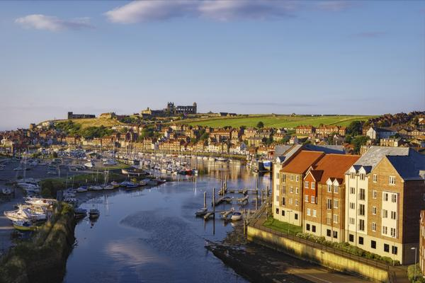 Scenic view of river Esk receding through Whitby town, North Yorkshire