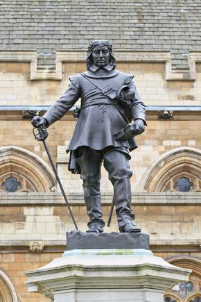 Statue of Oliver Cromwell in front of the Palace of Westminster, London