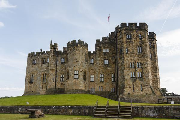 Alnwick castle in Northumbria, setting for Hogwarts in the Harry Potter films