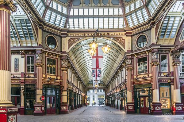 Interior of Leadenhall Market - Diagon Alley in the Harry Potter films.