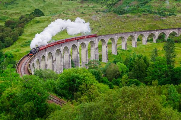 The Glenfinnan Viaduct, Scotland, as featured in the Harry Potter films.
