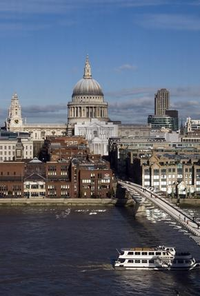 View of St Pauls Cathedral and Thames River Millennium Bridge from the Tate Modern