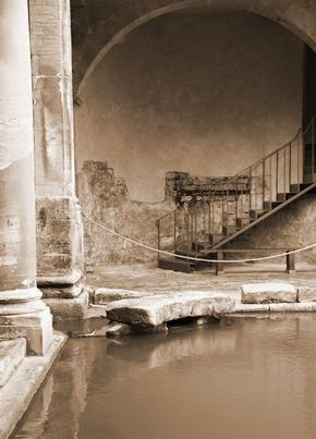 Corner Of The Roman Baths In Bath, Somerset
