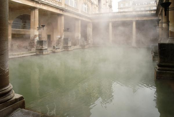 Roman Baths In Daylight, With Steam