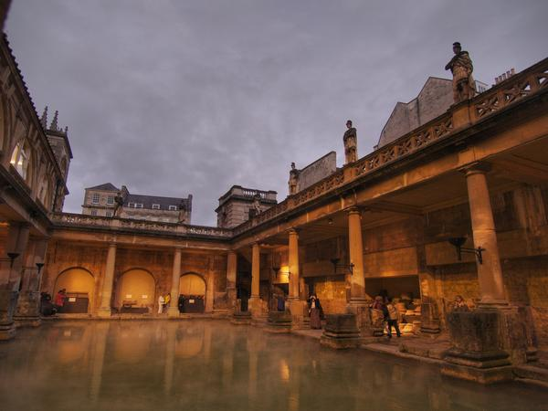 Illuminated Roman Baths With Darkened Sky