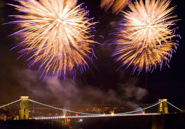 Fireworks over the Clifton Suspension Bridge in Bristol