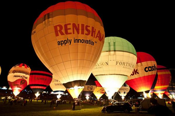 Bristol International Balloon Fiesta at night