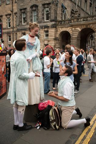 Street Theatre on the Royal Mile during the Edinburgh Fringe Festival