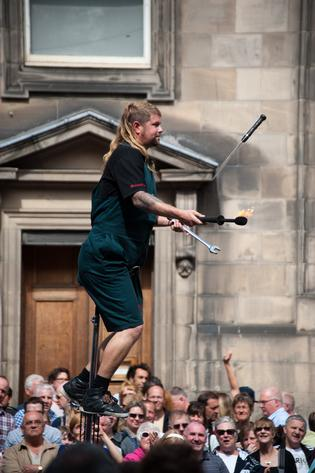 Fire Eater on the Royal Mile During Edinburgh Fringe Festival