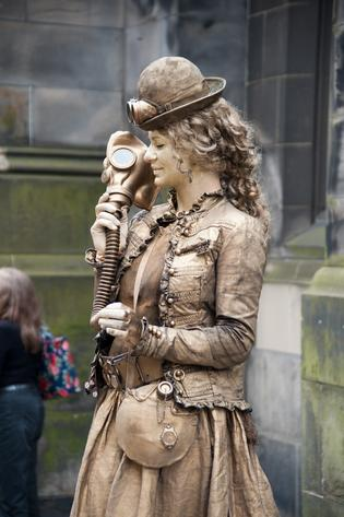 Human Statue on the Royal Mile During Edinburgh Fringe Festival