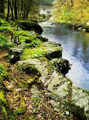 Betws-y-coed River Gorge in the snowdonia national park wales