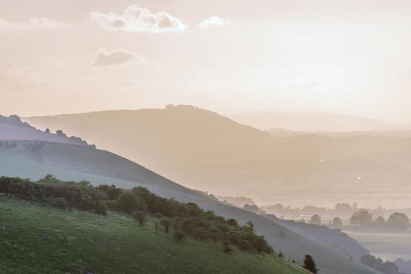 View from the South Downs Way footpath, Sussex, England