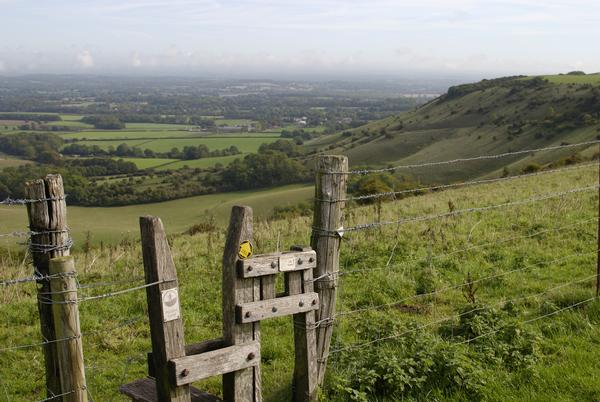 Stile on the South Downs Way at Ditchling Beacon near Brighton