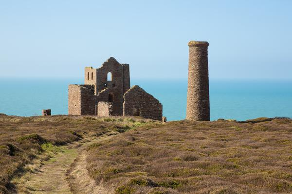 Cornwall coast and old tin mine England UK near St Agnes Beacon on the South West Coast Path known as Wheal Coates