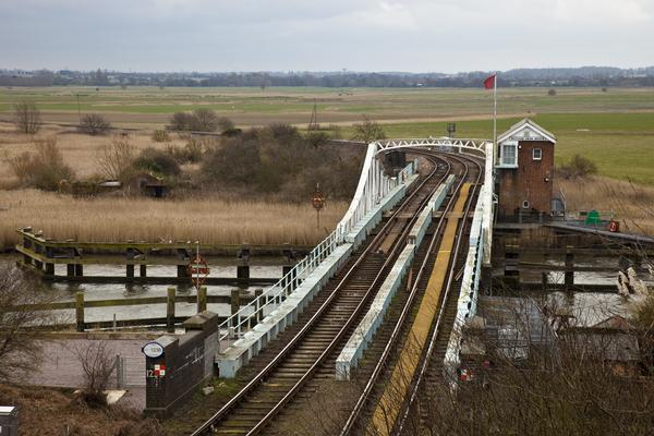 The old swing railway bridge at Reedham in Norfolk.