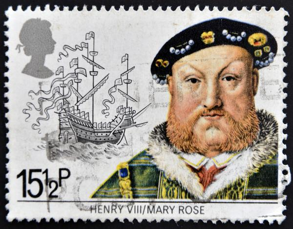 Stamp showing King Henry VIII and the Mary Rose