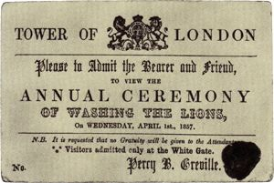 April Fool Invitation, Tower of London via Wikimedia Commons