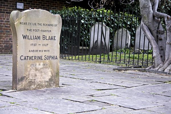 The grave of the poet and painter William Blake, and his wife